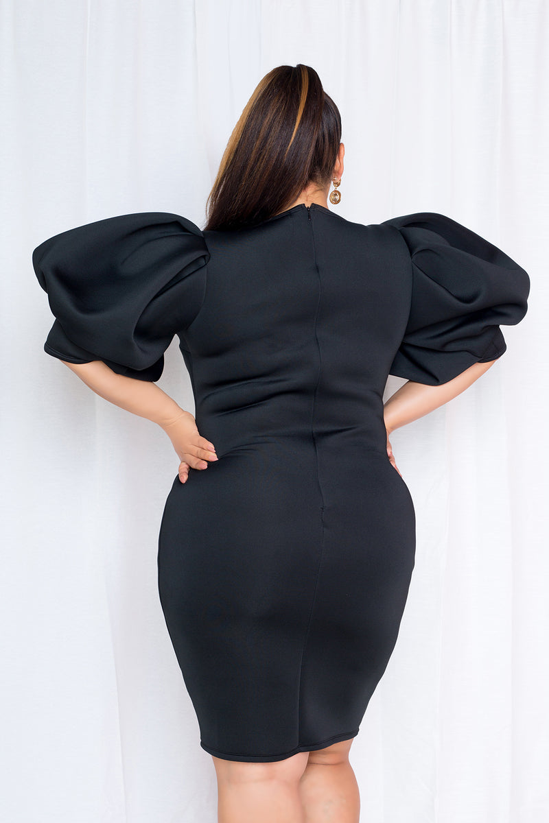 buxom couture curvy women plus size exaggerated sleeves scuba midi dress little black dress