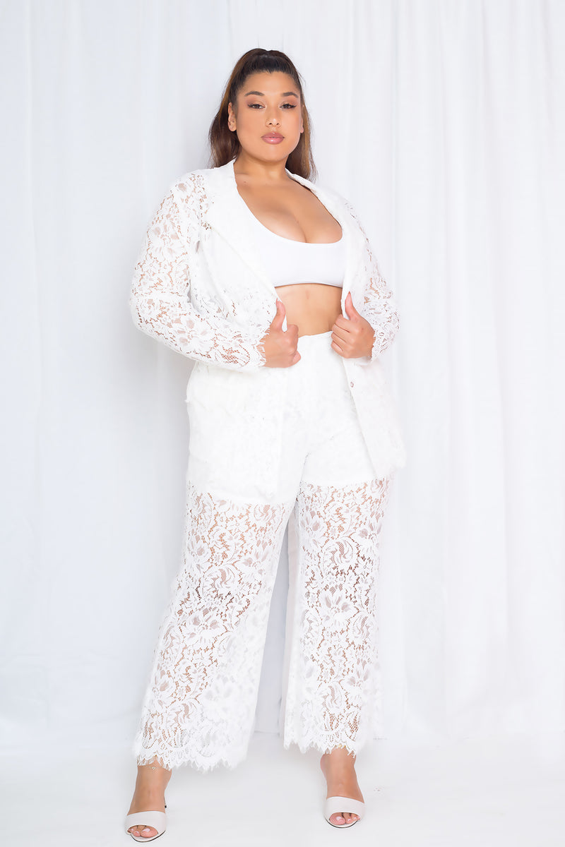 buxom couture curvy women plus size lace tailored suit set
