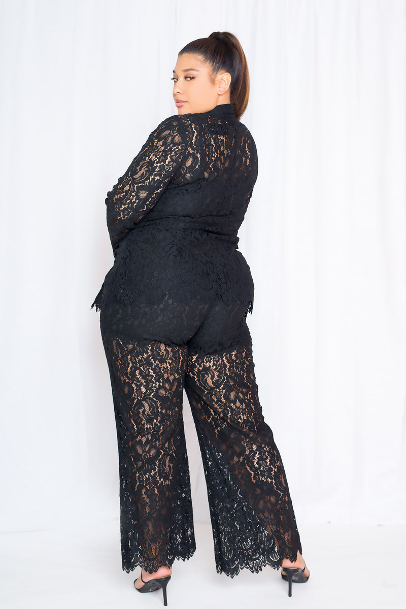 buxom curvy couture lace suit combo jacket and pants in black