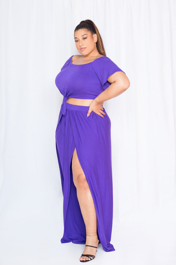 buxom curvy couture women plus size off shoulder cropped top with high waisted palazzo pants with slits matching sets purple