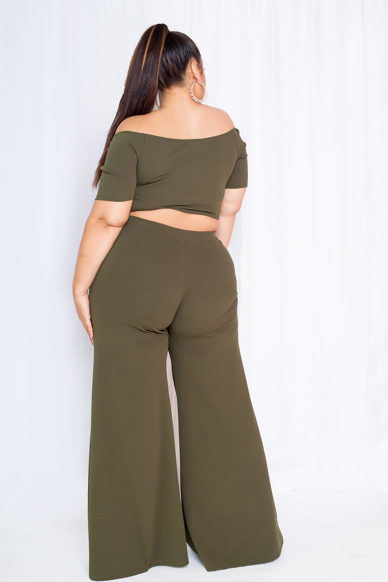 buxom curvy couture women plus size crop top palazzo pants matching set olive green