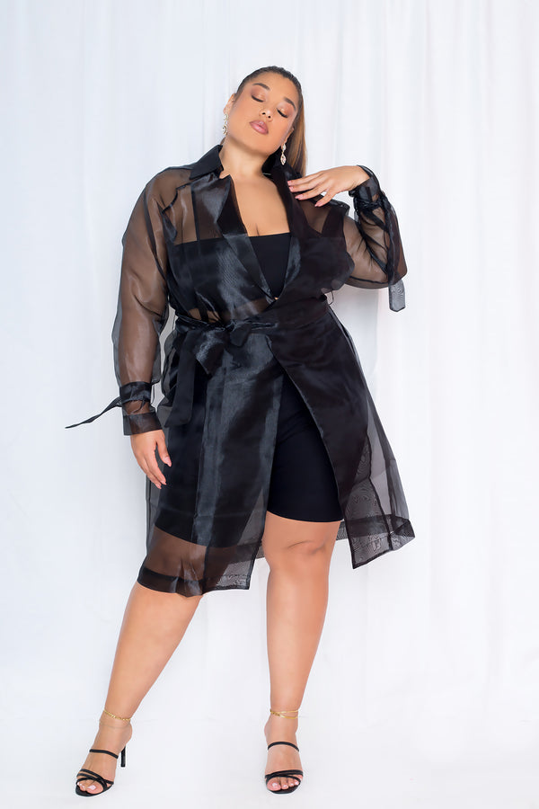 buxom curvy couture womens contemporary plus size organza jacket in black