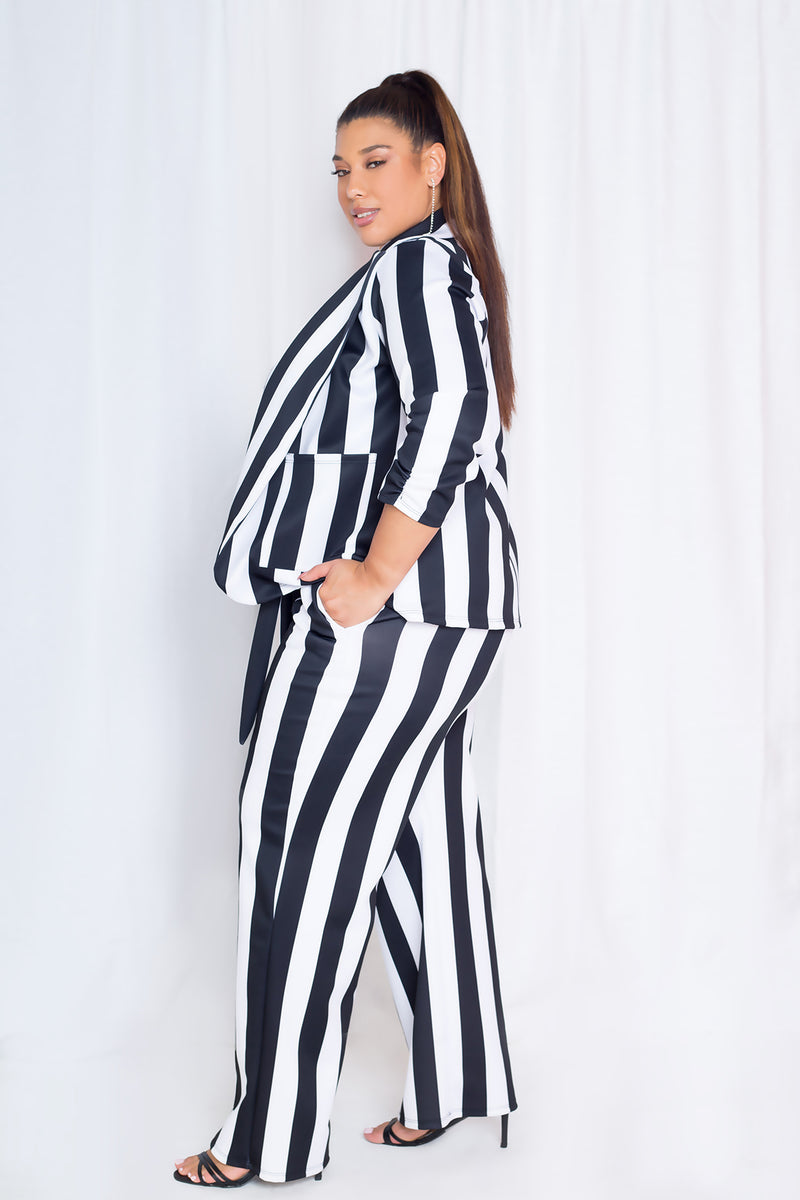 buxom curvy couture plus size white and black striped blazer
