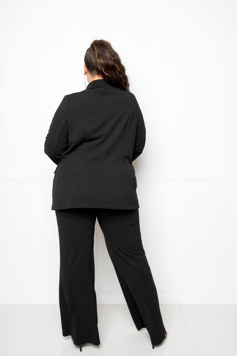 buxom curvy couture womens plus size contemporary fashion double breasted button blazer and wide pants in black