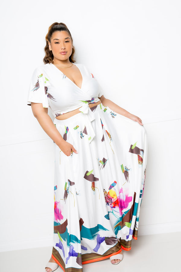 buxom couture curvy women plus size tropical floral print maxi dress skirt crop top matching set white