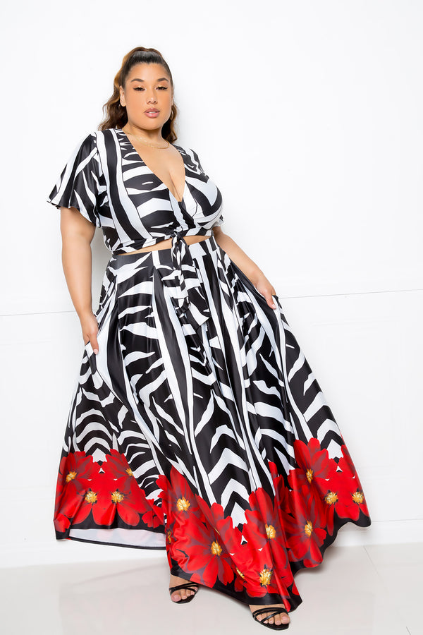 buxom couture curvy women plus size zebra cropped top and maxi skirt floral set