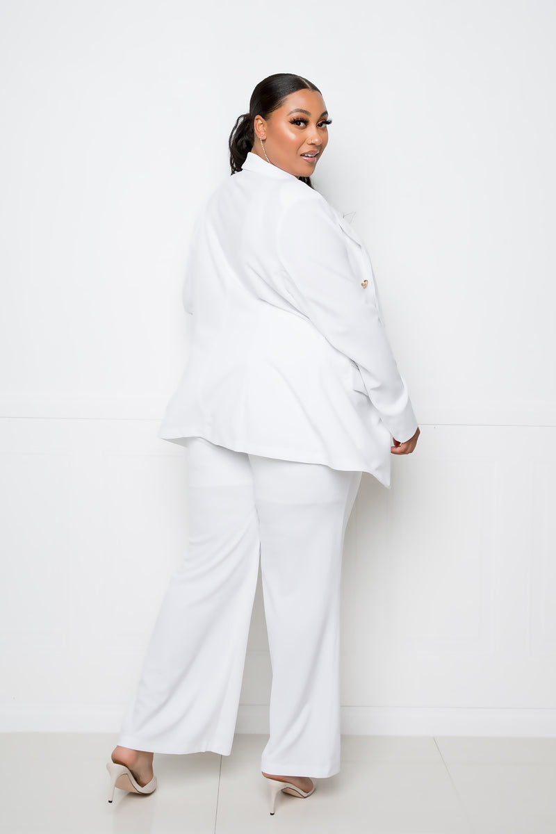buxom curvy couture womens plus size contemporary fashion double breasted button blazer and wide pants in white
