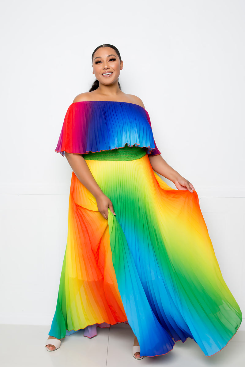 buxom curvy couture women plus size rainbow pleated off shoulder flounce maxi dress summer dress