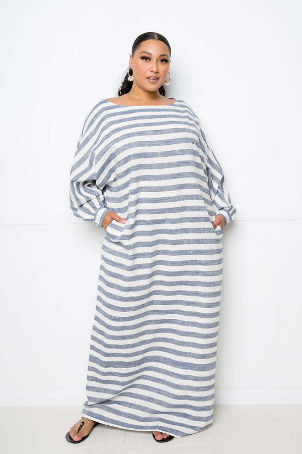 buxom curvy couture women plus size striped linen loose maxi dress navy