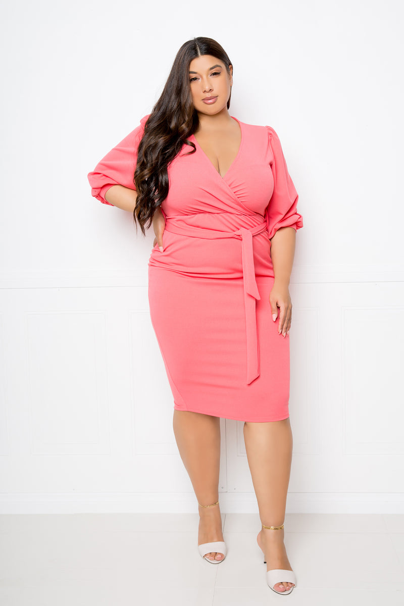 buxom couture curvy women plus size wrap midi dress coral pink