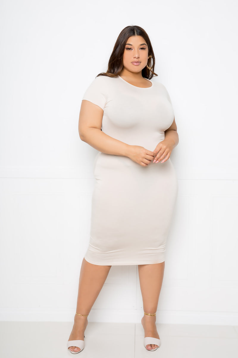 buxom couture curvy women plus size everyday t-shirt dress taupe beige oatmeal