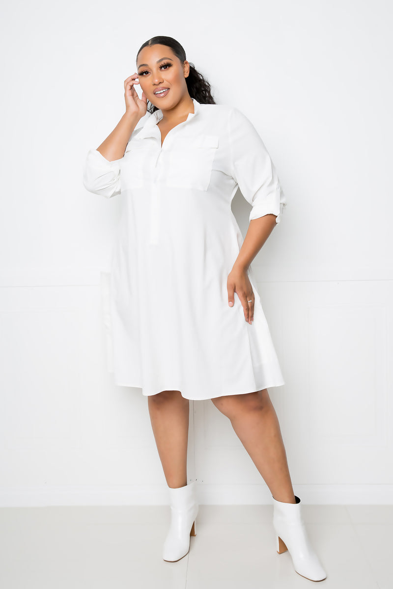 buxom couture curvy women plus size utilitarian shirt dress white