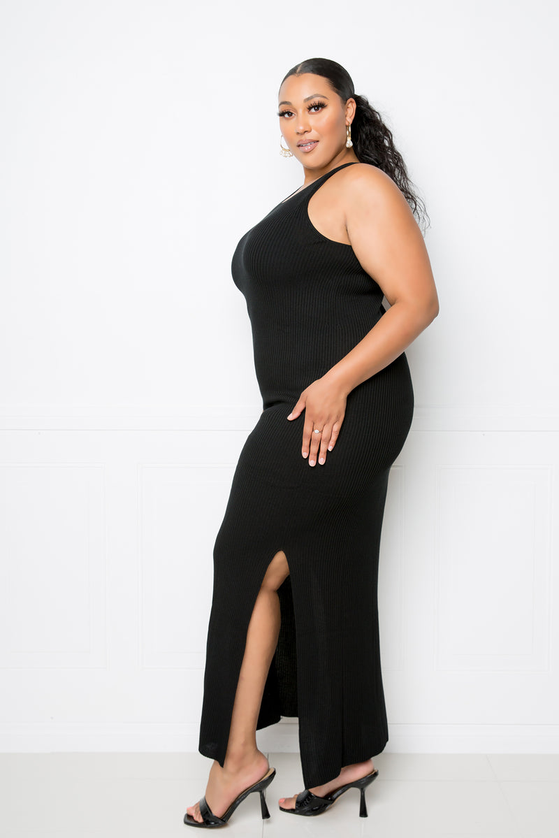 buxom couture curvy women plus size premium quality whole garment sweater modal maxi dress black