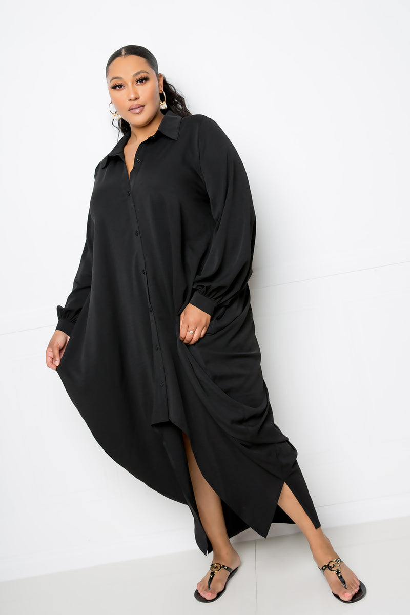 buxom couture curvy women drapy shirt maxi dress black