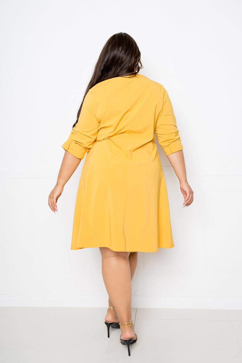 buxom couture curvy women plus size utilitarian shirt dress mustard
