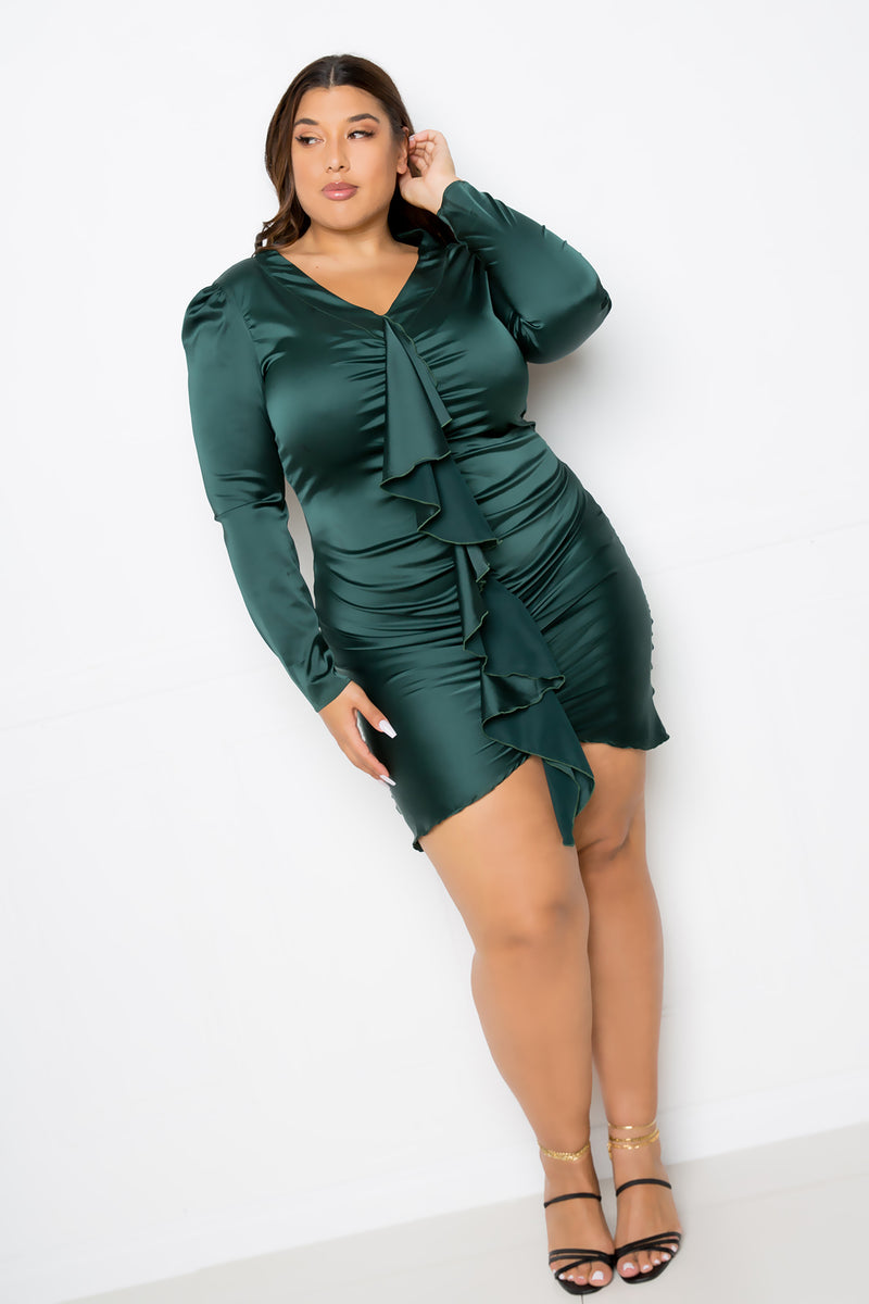 buxom couture curvy women plus size cascading ruffle stretch satin dress green