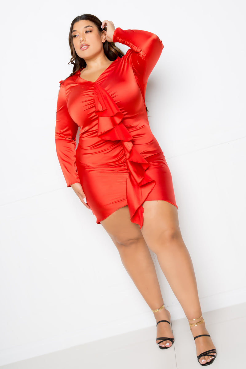 buxom couture curvy women plus size cascading ruffle stretch satin dress red