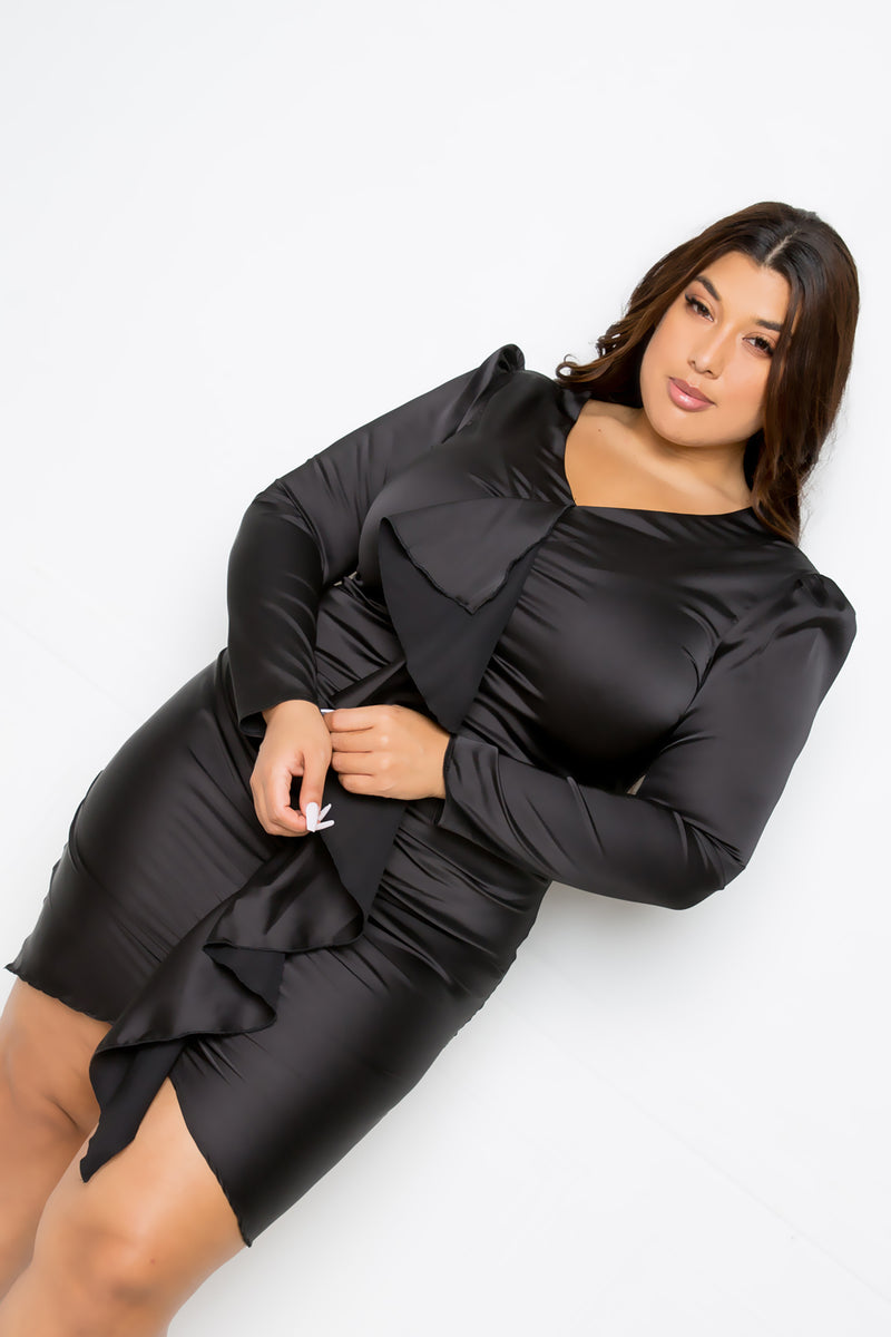 buxom couture curvy women plus size cascading ruffle stretch satin dress black