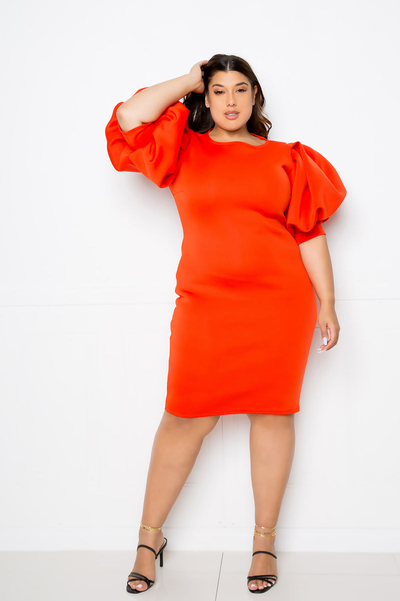 buxom couture curvy women plus size exaggerated sleeves scuba midi dress orange