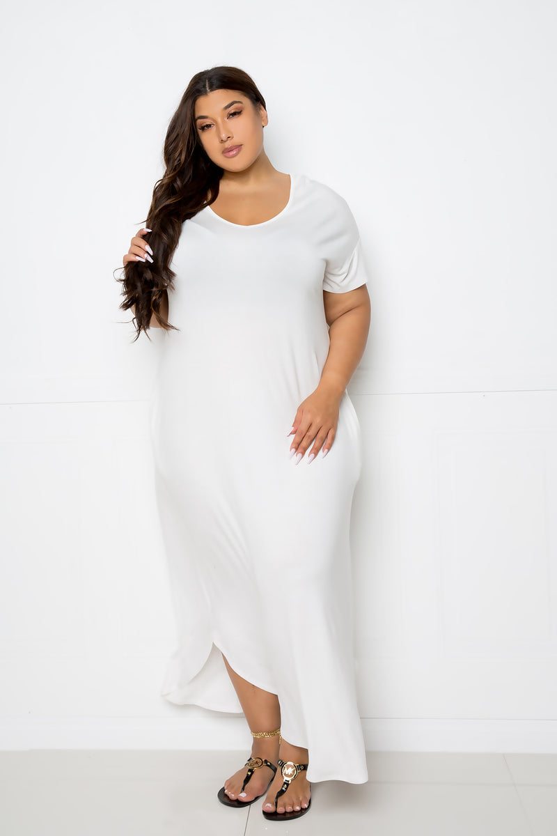 buxom couture curvy women plus size everyday pocket t-shirt maxi dress ivory white