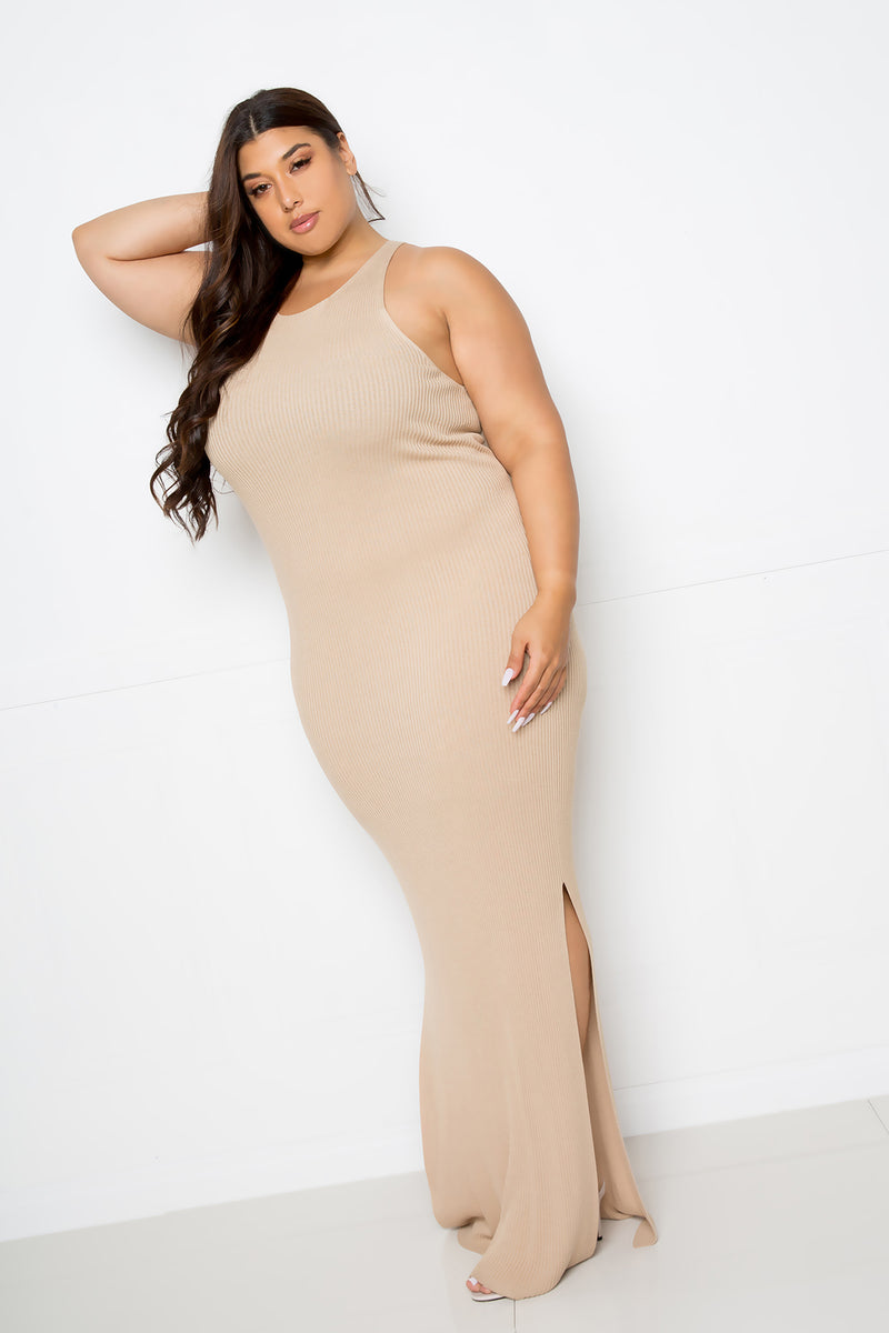 buxom couture curvy women plus size premium quality seamless sweater maxi dress whole garment beige taupe nude