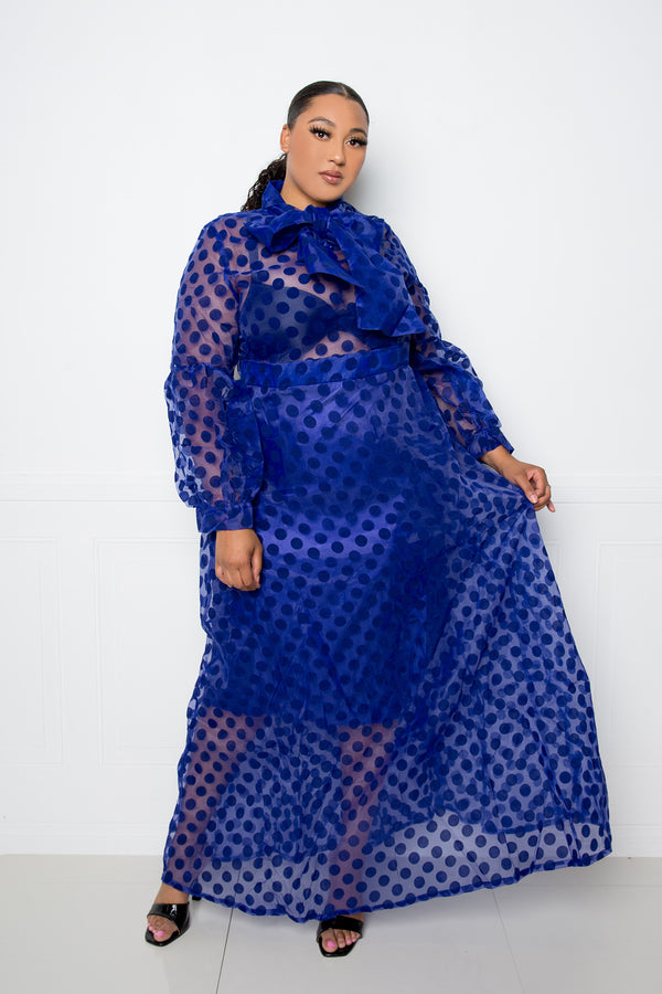 buxom couture curvy women plus size polka dot organza maxi dress navy blue