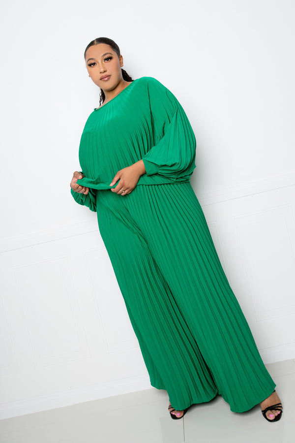buxom couture curvy women plus size pleated top and palazzo pants set green