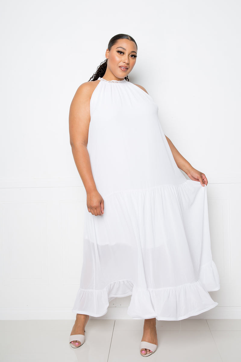 buxom couture curvy women plus size halter neck flowy maxi dress white