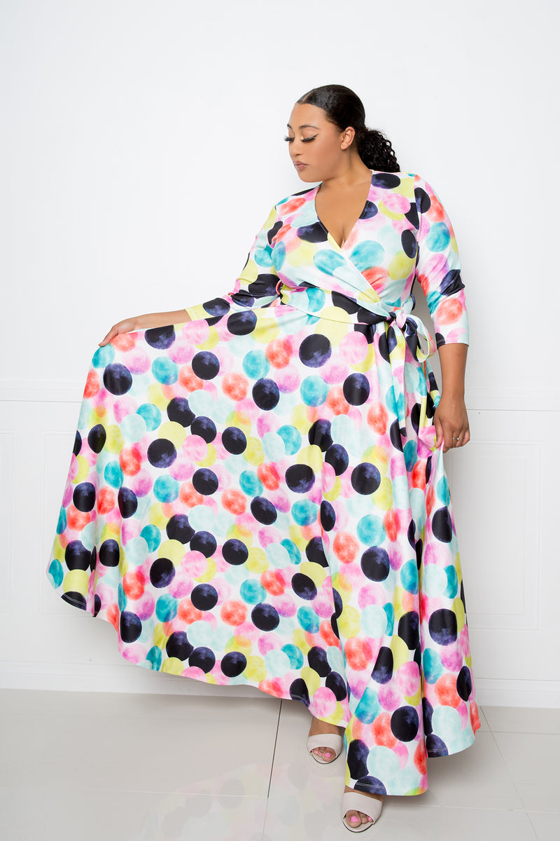buxom couture curvy women plus size rainbow colorful polka dot maxi dress