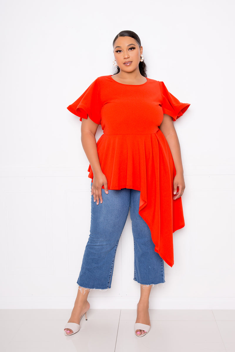 buxom couture curvy women plus size flutter asymmetrical peplum top red orange