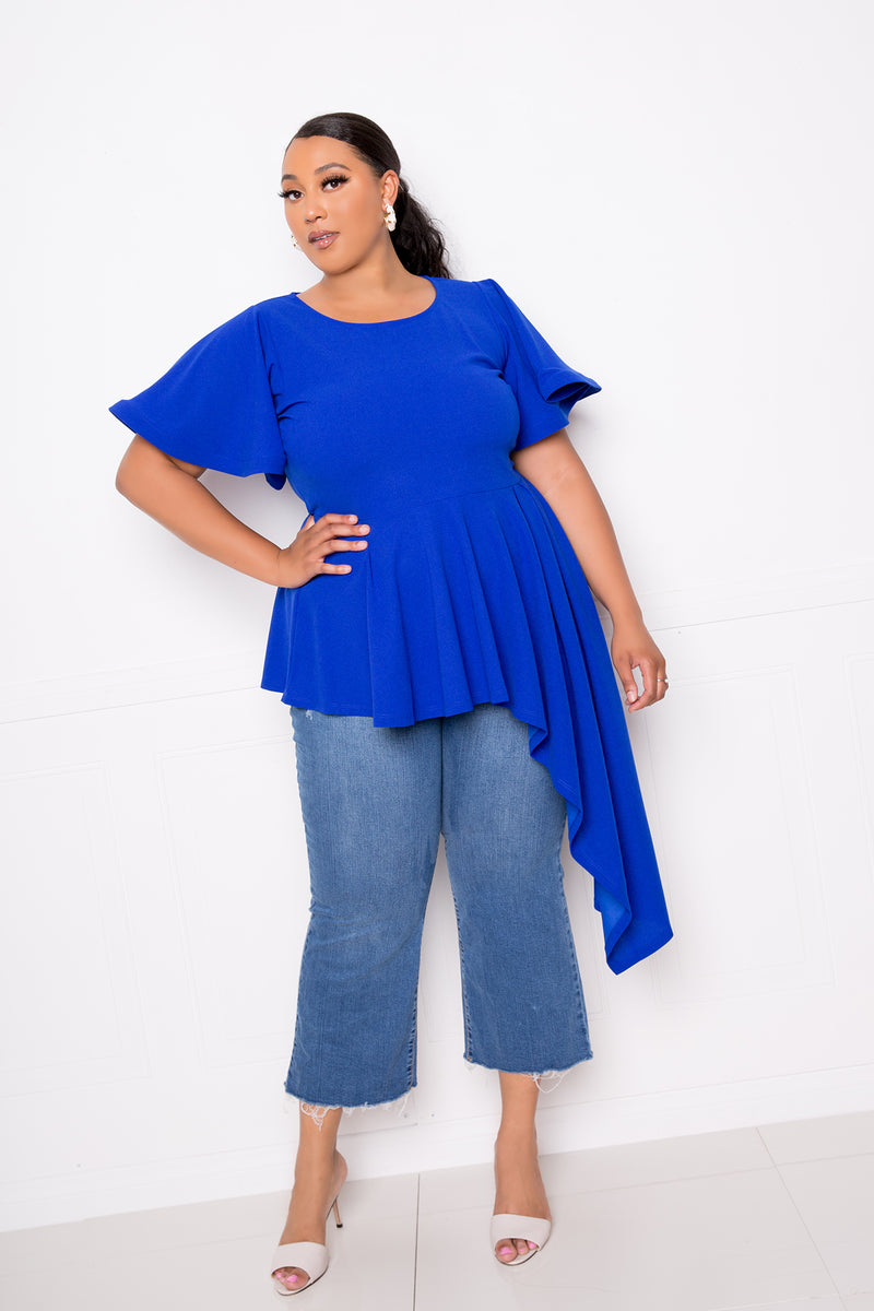 buxom couture curvy women plus size flutter asymmetrical peplum top royal blue