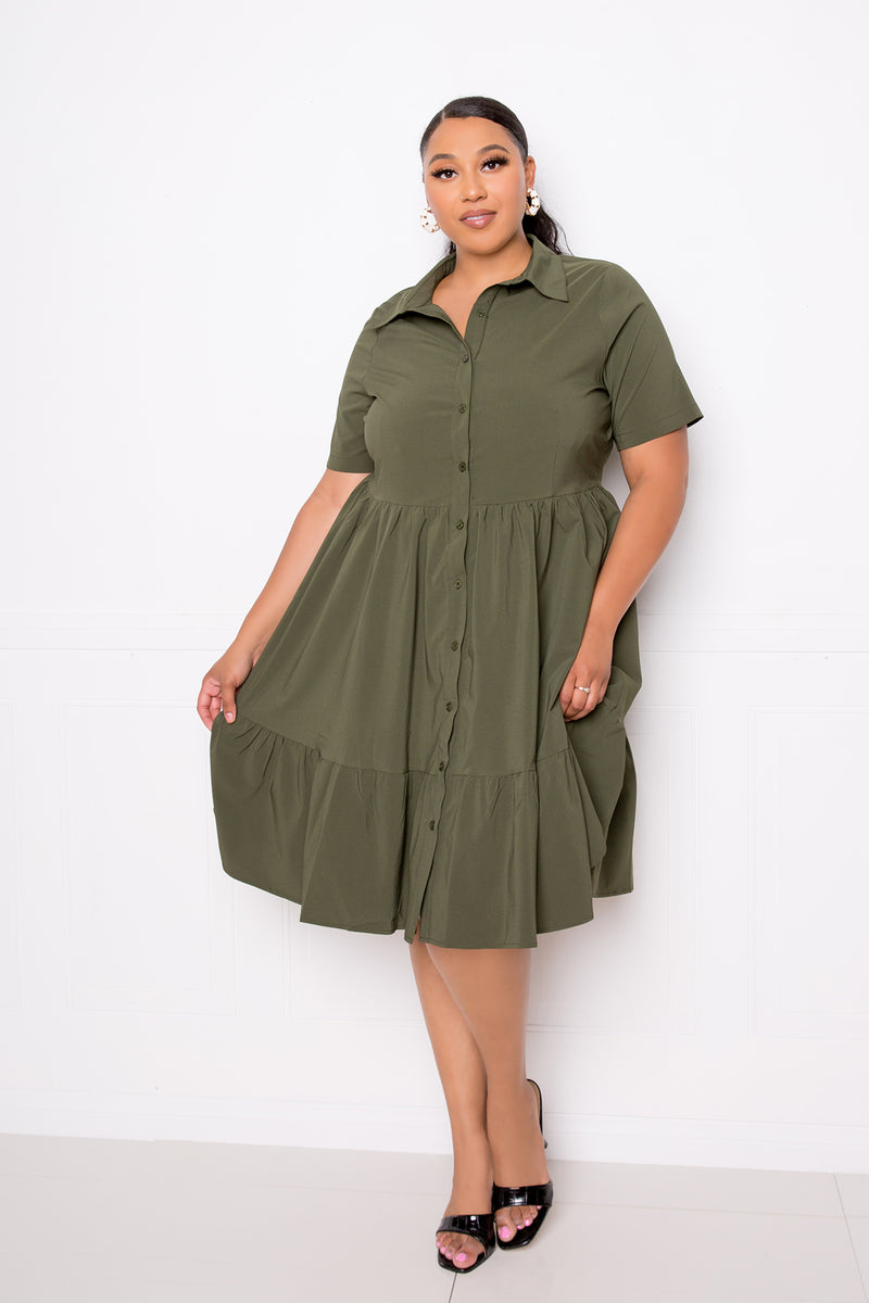 buxom couture curvy women plus size tiered shirt mini dress olive green