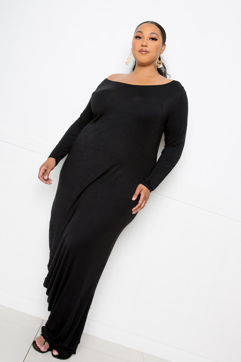 One Shoulder Cowl Maxi Dress