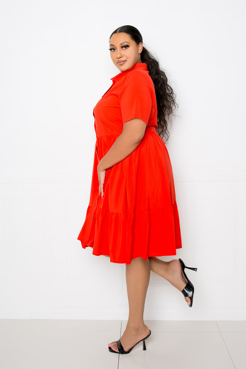 buxom couture curvy women plus size tiered shirt mini dress orange red