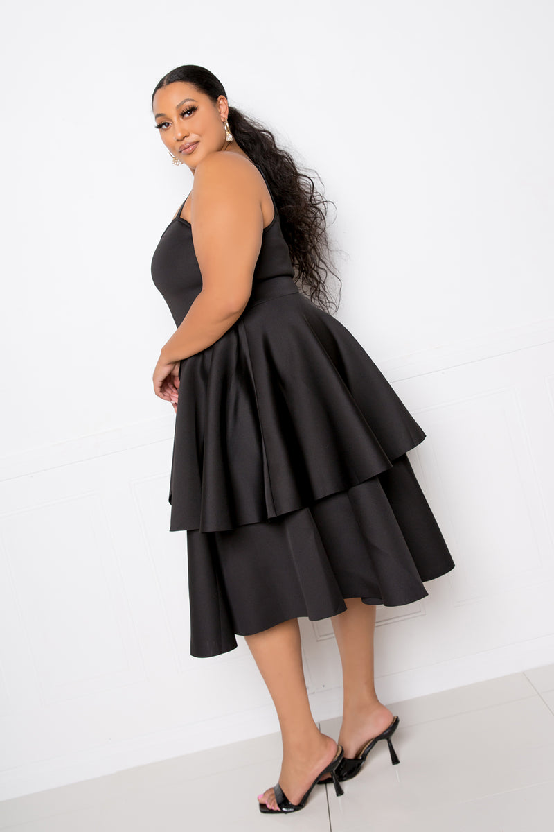 buxom couture curvy women plus size peplum jacket and tiered flare dress set black