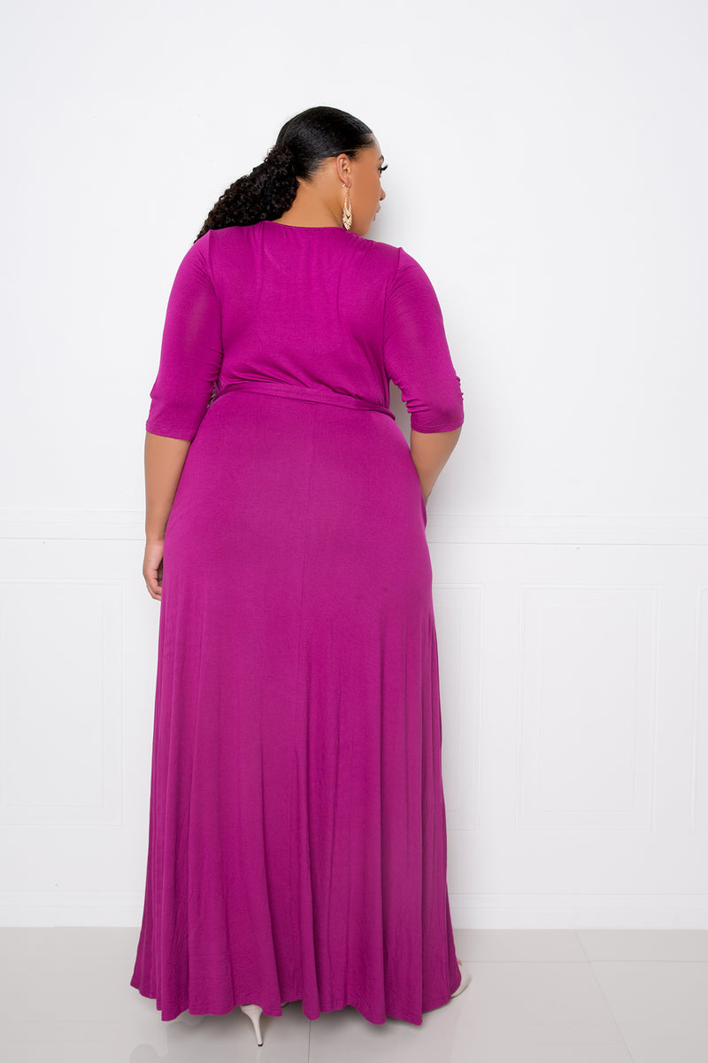 buxom couture curvy women plus size maxi dress with pockets magenta