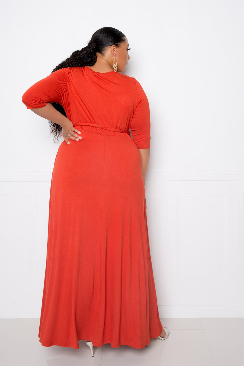 buxom couture curvy women plus size maxi dress with pockets orange rust