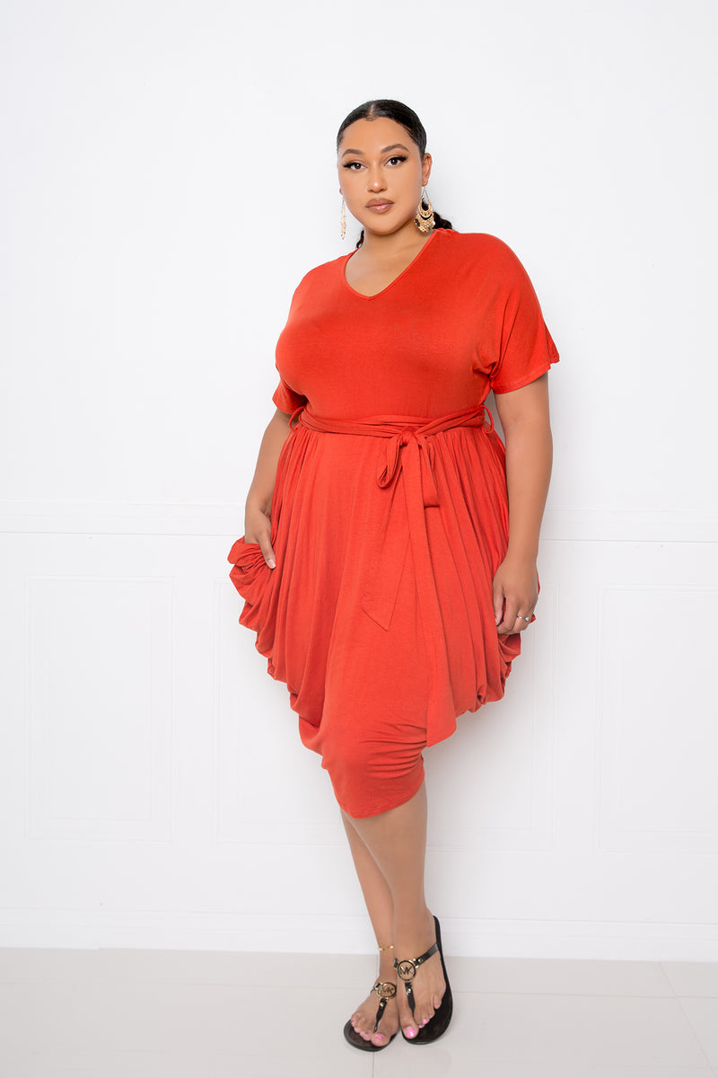 buxom couture curvy women plus size double ruched dress brick red orange
