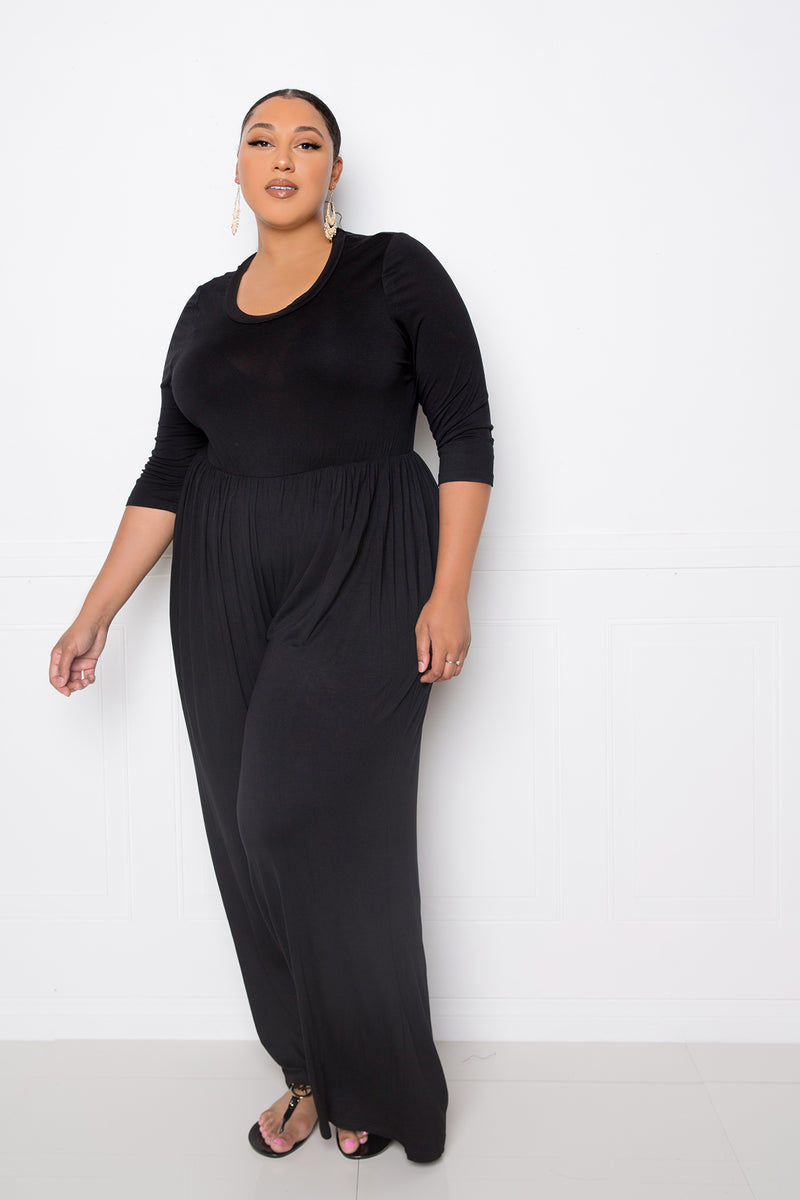 buxom couture curvy women plus size supersoft scooped neck jumpsuit black