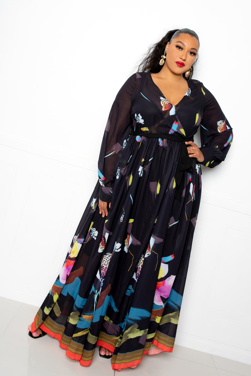 buxom couture curvy women plus size tropical floral surplice maxi dress black