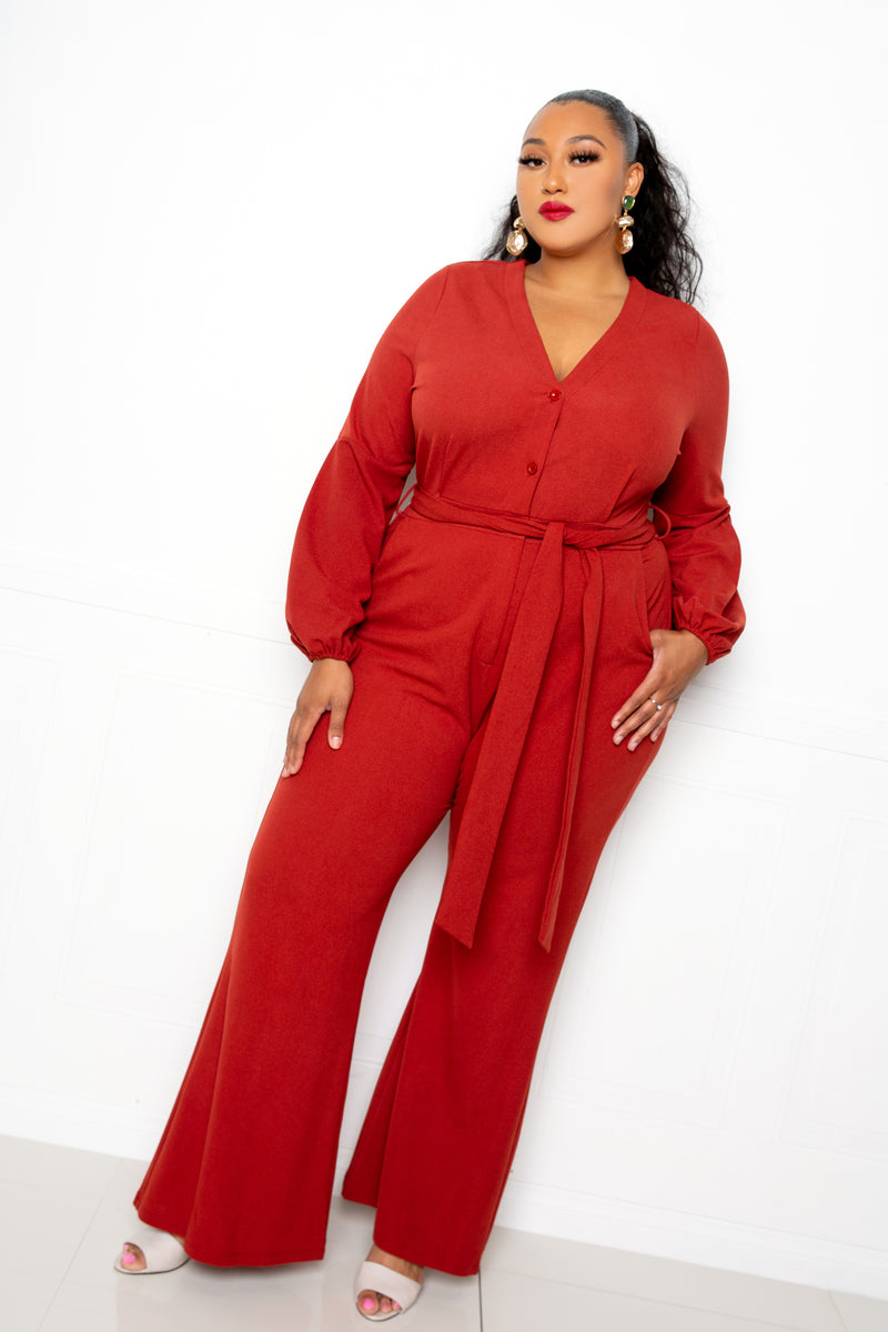 Button Up Flare Jumpsuit