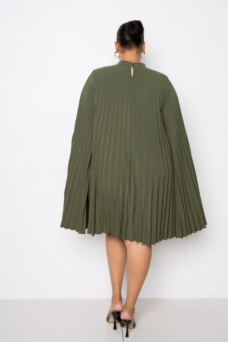 buxom couture curvy women plus size pleated cape dress olive green