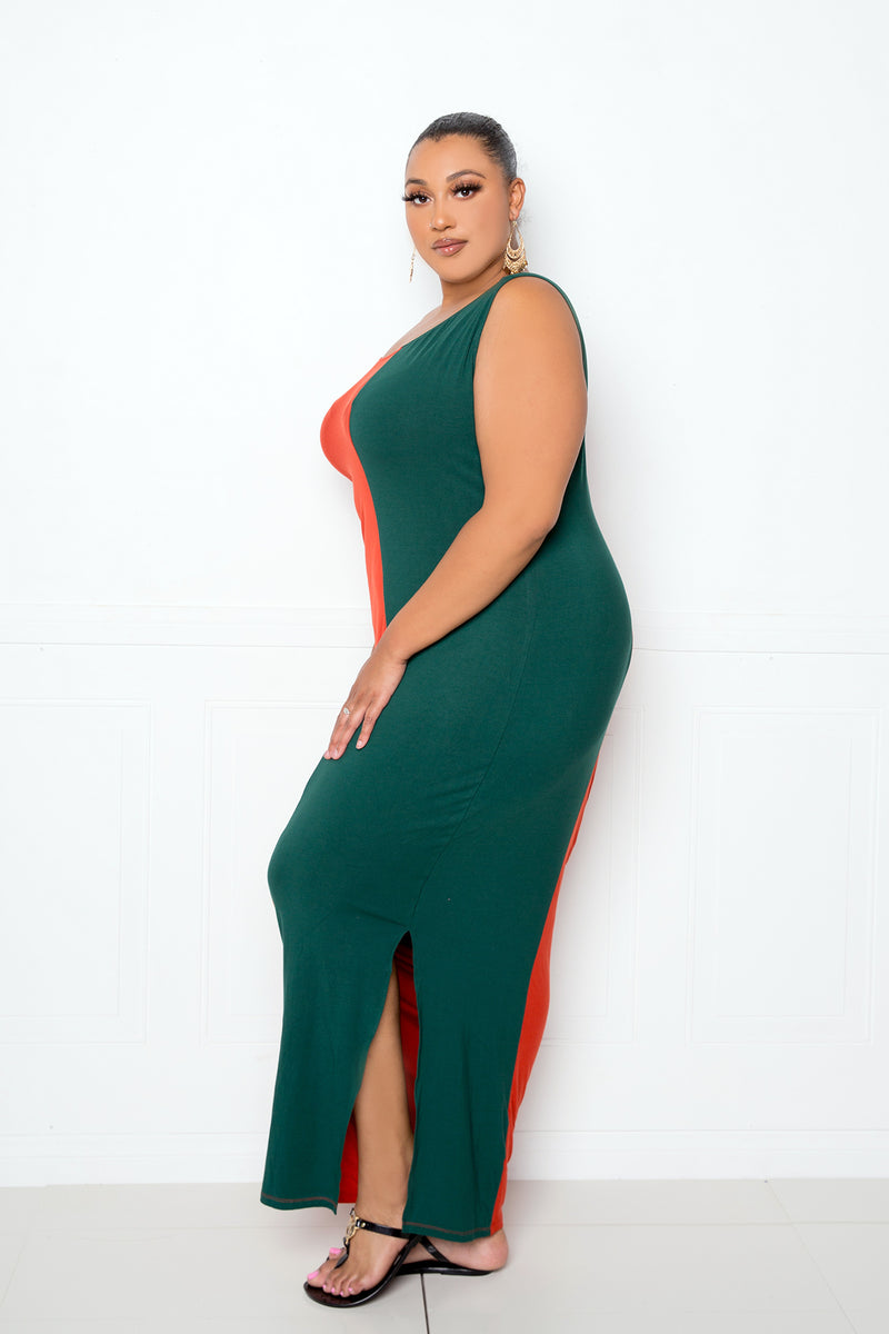 buxom couture curvy women plus size colorblock one-shoulder maxi dress gucci rust/green