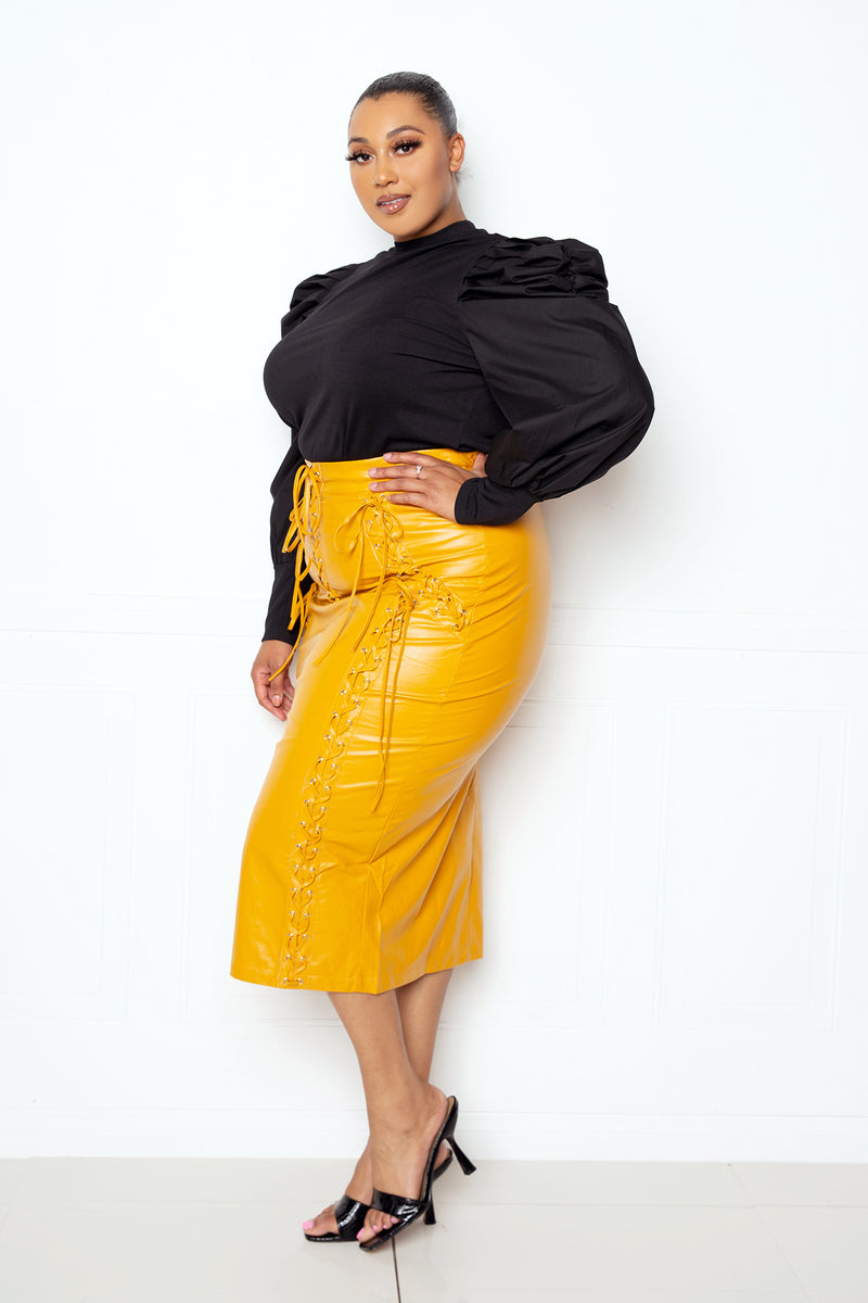 buxom couture curvy women faux leather laced up midi skirt mustard yellow