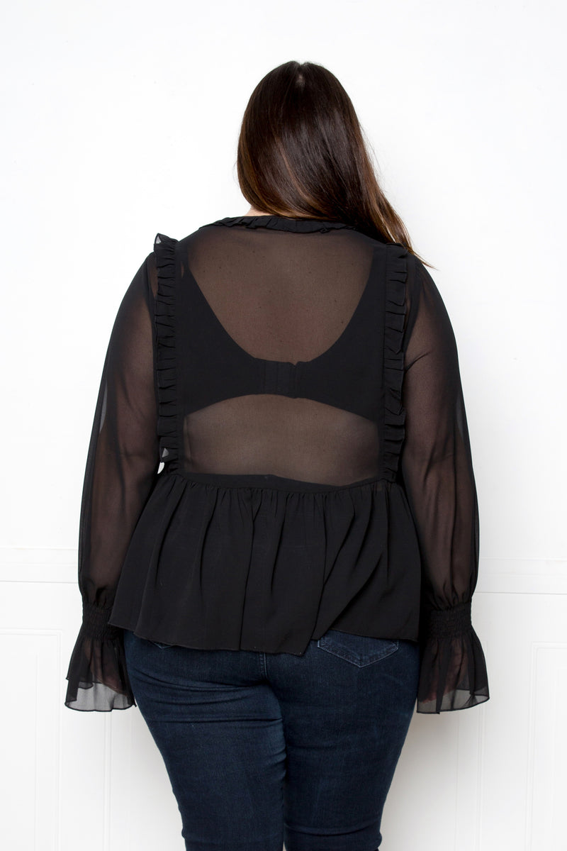buxom couture curvy women plus size ruffle babydoll blouse black