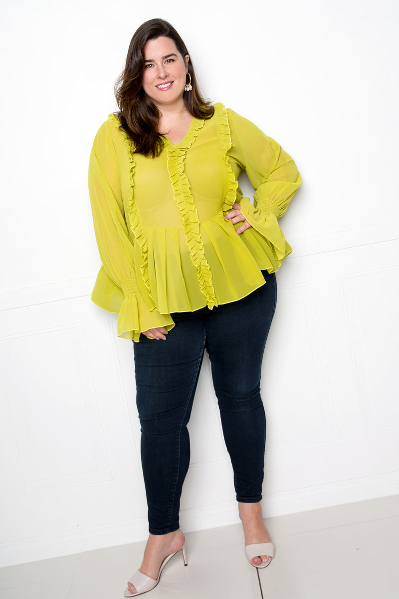 buxom couture curvy women plus size ruffle babydoll blouse lime green tea leaf