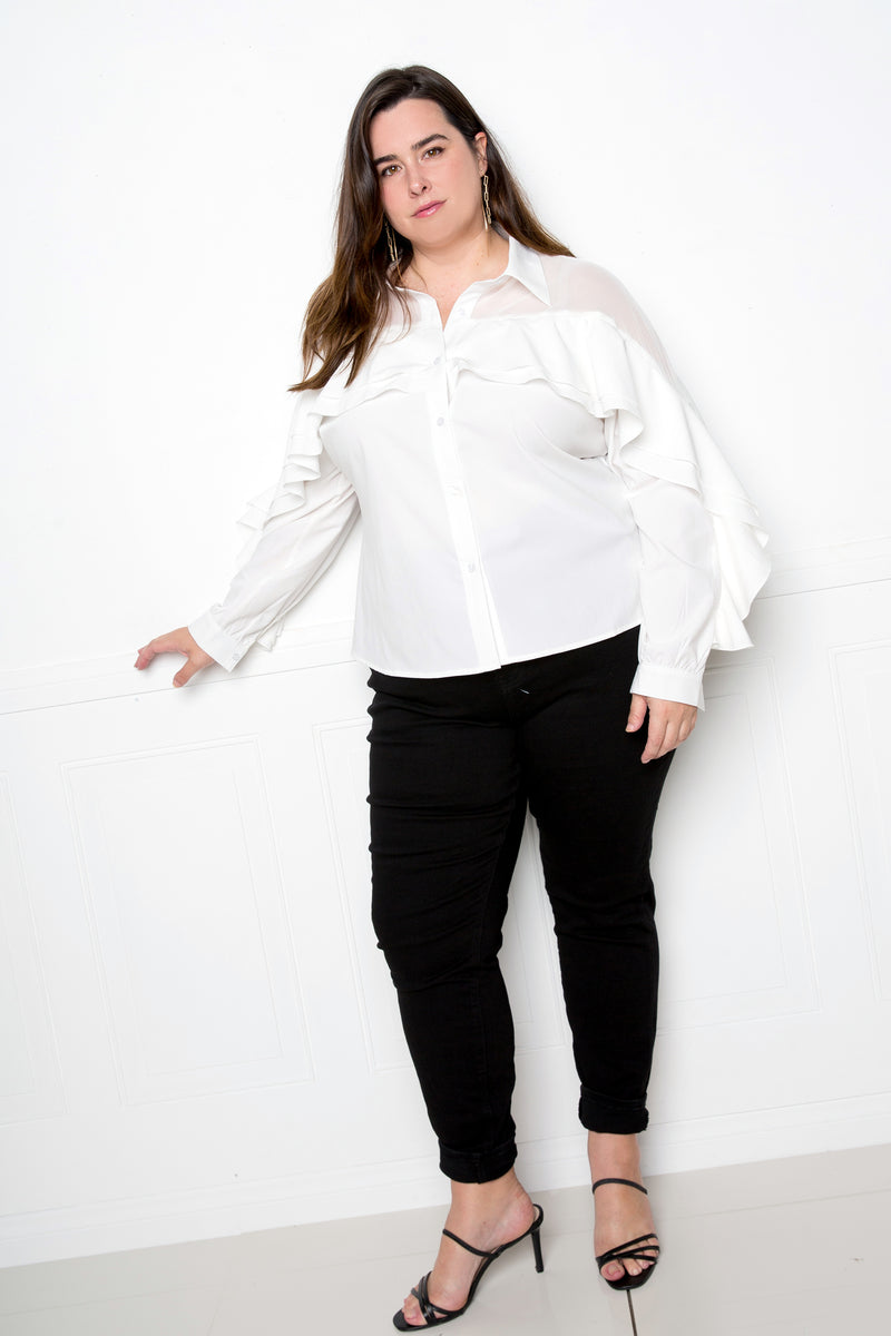 buxom couture curvy women plus size ruffle blouse with mesh inserts white