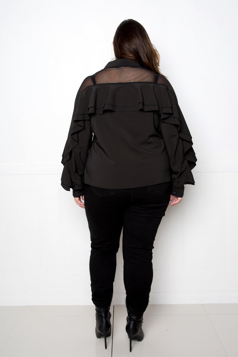 Ruffle Blouse with Mesh Inserts