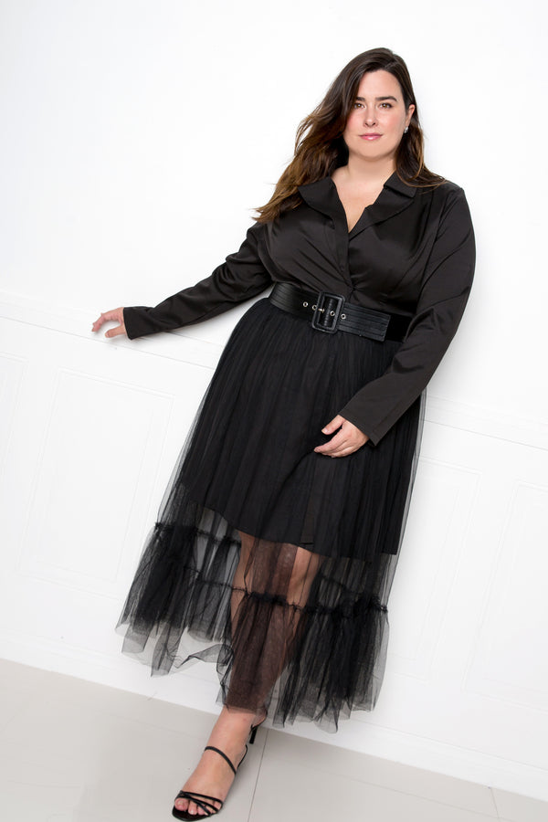 buxom couture curvy women plus size tulle blazer dress black