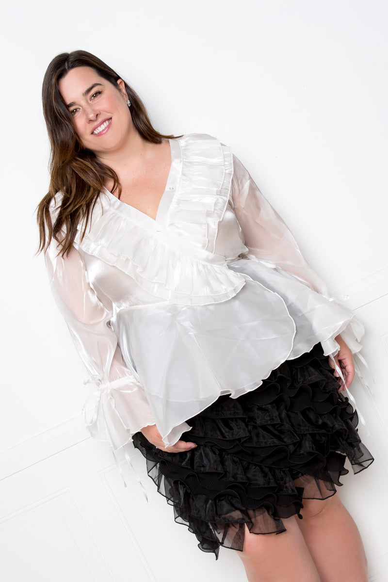 buxom couture curvy women plus size organza ruffled surplice wrapped blouse white
